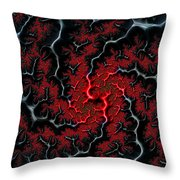 Black Veins Red Blood Abstract Fractal Art Throw Pillow