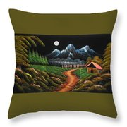 Night View With Full Moon Throw Pillow