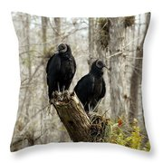 Black Vultures Throw Pillow