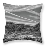 Black White Chem Trails Sky Overton Nevada  Throw Pillow