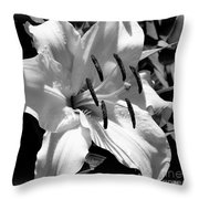 Black White Lilly Throw Pillow by Kip Krause