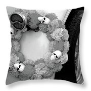 Black White Skulls Classic Car  Throw Pillow