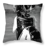 Black White Tiger Woods Bag Clubs  Throw Pillow