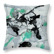 Black, White, Turquoise And Silver Throw Pillow