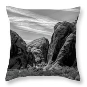 Black White Valley Of Fire  Throw Pillow