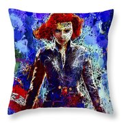 Black Widow Throw Pillow by Al Matra