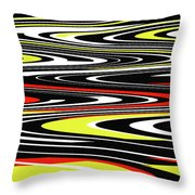 Black Yellow Red White Abstract Throw Pillow