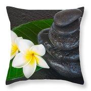 Black Zen Stones Throw Pillow
