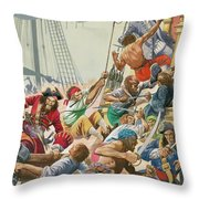 Blackbeard And His Pirates Attack Throw Pillow