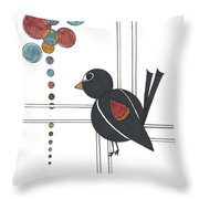 Blackbird With Circles Throw Pillow