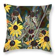 Blackeyed Susans Watercolor Throw Pillow