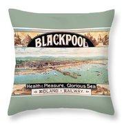 Blackpool, England - Retro Travel Advertising Poster - Seaside Resort - Vintage Poster Throw Pillow