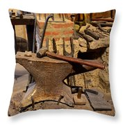 Blacksmith - Anvil And Hammer Throw Pillow