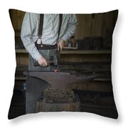 Blacksmith At Work Throw Pillow