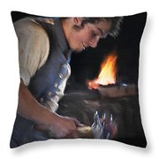Blacksmith - Pioneer Village Throw Pillow