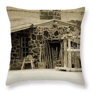 Blacksmith Shop 1867 Cove Creek Fort Utah Photograph In Sepia Throw Pillow
