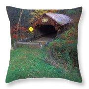 Blacksmith Shop Covered Bridge Throw Pillow