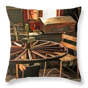Blacksmith Shop Wheel Repair At Old World Wisconsin Throw Pillow