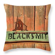 Blacksmith Sign Throw Pillow