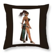 Blackthorn Woman Warrior Throw Pillow