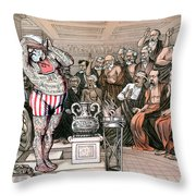 Blaine Cartoon, 1884 Throw Pillow
