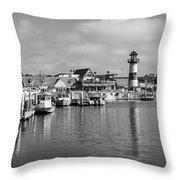 Black And White Oceanside California Marina  Throw Pillow