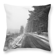 Blanchland Road In Winter, Slaley Woods Throw Pillow