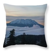 Blanket Of Fog Below Mount Saint Helens Throw Pillow