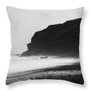 Blast Beach Monochrome Throw Pillow