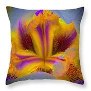 Blazing Heart Of An Iris Throw Pillow
