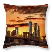 Blazing Manhattan Skyline Throw Pillow