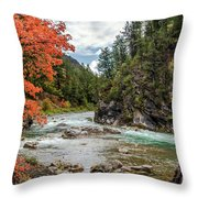 Blazing Red Mountain Maple, Greys River Throw Pillow