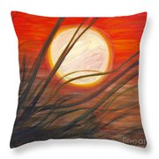 Blazing Sun And Wind-blown Grasses Throw Pillow