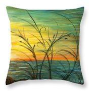 Blazing Sunrise And Grasses In Blue Throw Pillow