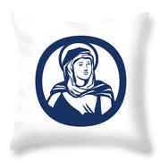 Blessed Virgin Mary Circle Retro Throw Pillow