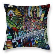 Blessing Of El Pescadero Mural Throw Pillow