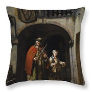 Blind Elderly With His Daughter Throw Pillow