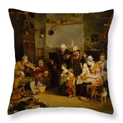 Blind Fiddler Throw Pillow