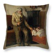 Blind Kristian Minding A Child Throw Pillow