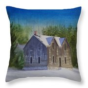 Blind River Homestead In Winter Throw Pillow