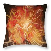 Blissful Fire Angels Throw Pillow