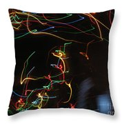 Blizzard Of Colorful Lights. Dancing Lights Series Throw Pillow