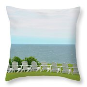 Block Island Hotel Ocean View Throw Pillow