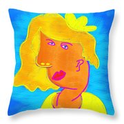 Blond Girl In A Yellow Hat Cubism Style Throw Pillow