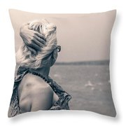 Blond Woman Looking To The Horizon. Throw Pillow
