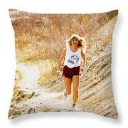 Blond Woman Trail Runner Throw Pillow