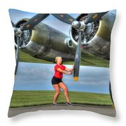 Blonde Bomber Girl 2 Throw Pillow