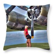 Blonde Bomber Girl Throw Pillow