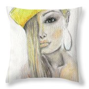 Blonde Hair, Yellow Hat -- The Original Throw Pillow