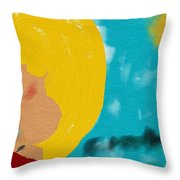 Blonde Looking For Thought Throw Pillow